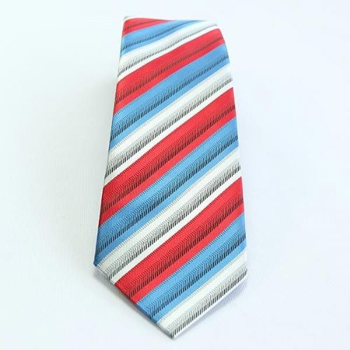 ShowQuest Striped Childs Tie in Red/Blue/White